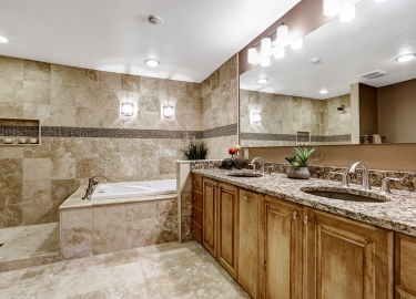 Luxury Bathroom Interior With Tile Floor.