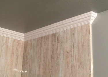 Completed Acrylic shower with crown moulding